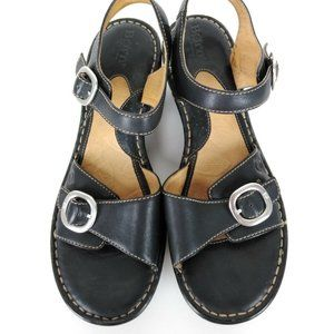Born Black Leather Double Strap Wedge Sandals